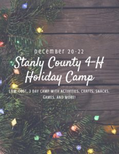 Cover photo for Announcing: Stanly County 4-H Holiday Camp