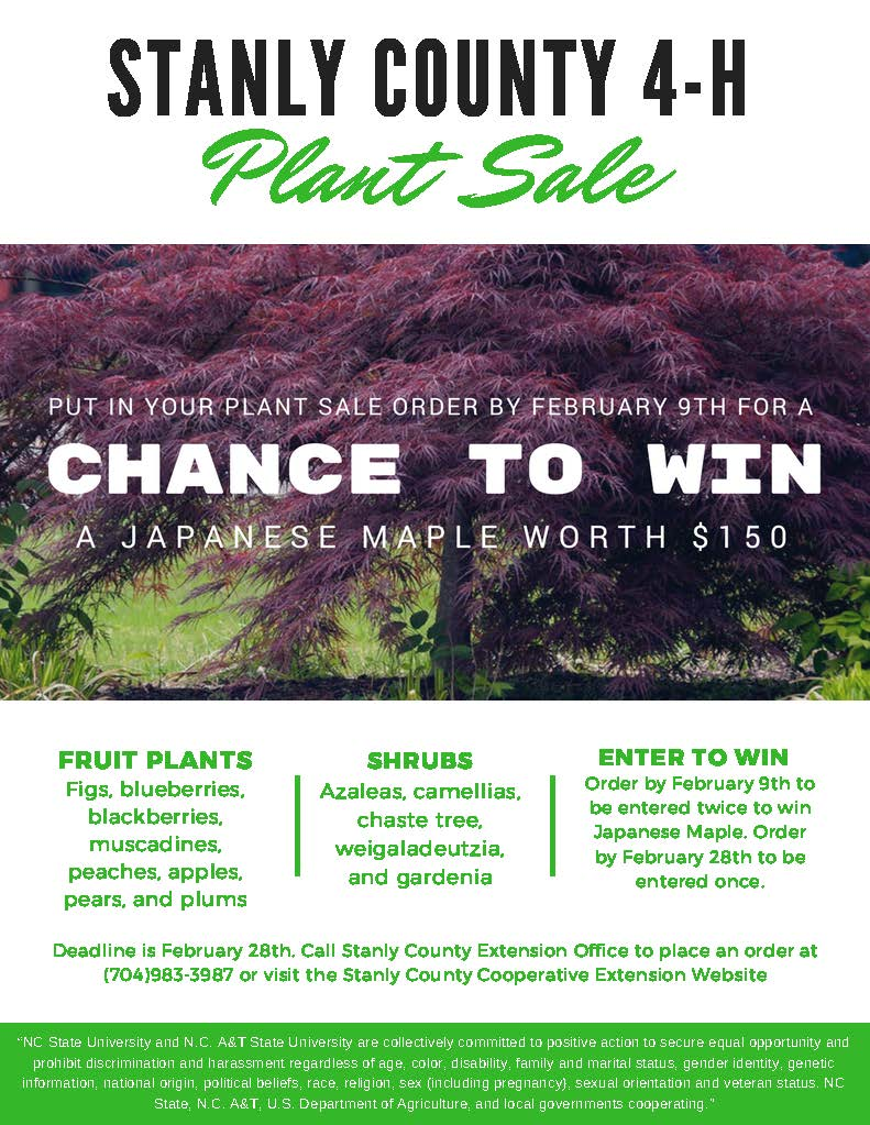 Stanly County 4-H Plant Sale flyer