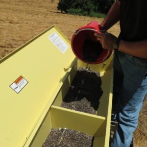 Putting seed mix into seed drill