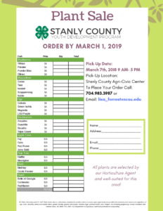 Plant Sale Flyer and order form (1)