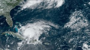 Satellite image of Hurricane Isaias as it approaches Florida on July 31, 2020. Photo from the NOAA.